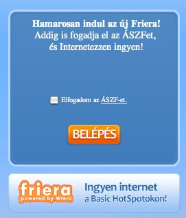 Friera Atallas login kepernyo